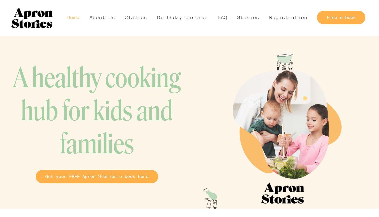 Apron Stories desktop landingpage