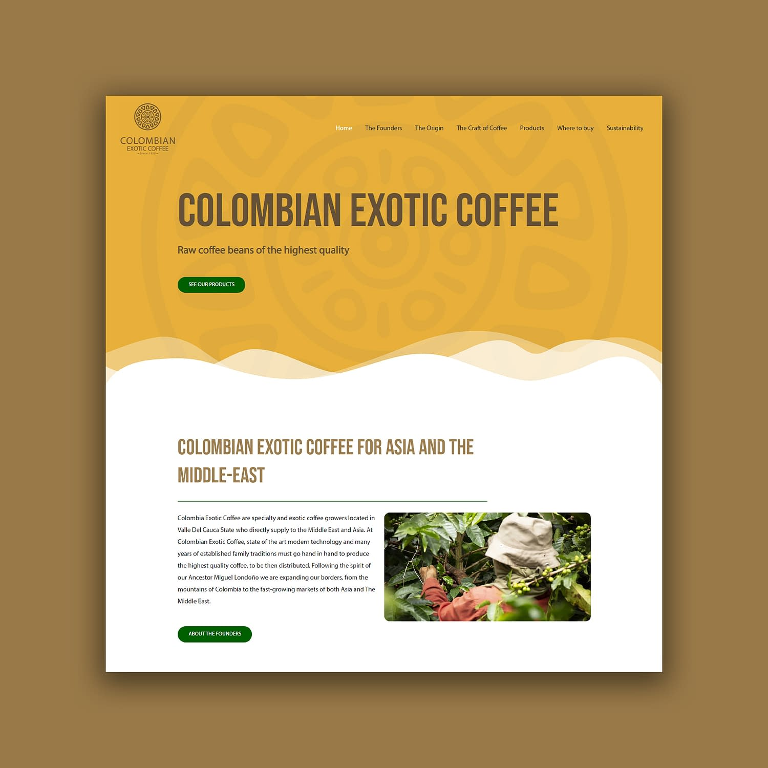Colombian Exotic Coffee website