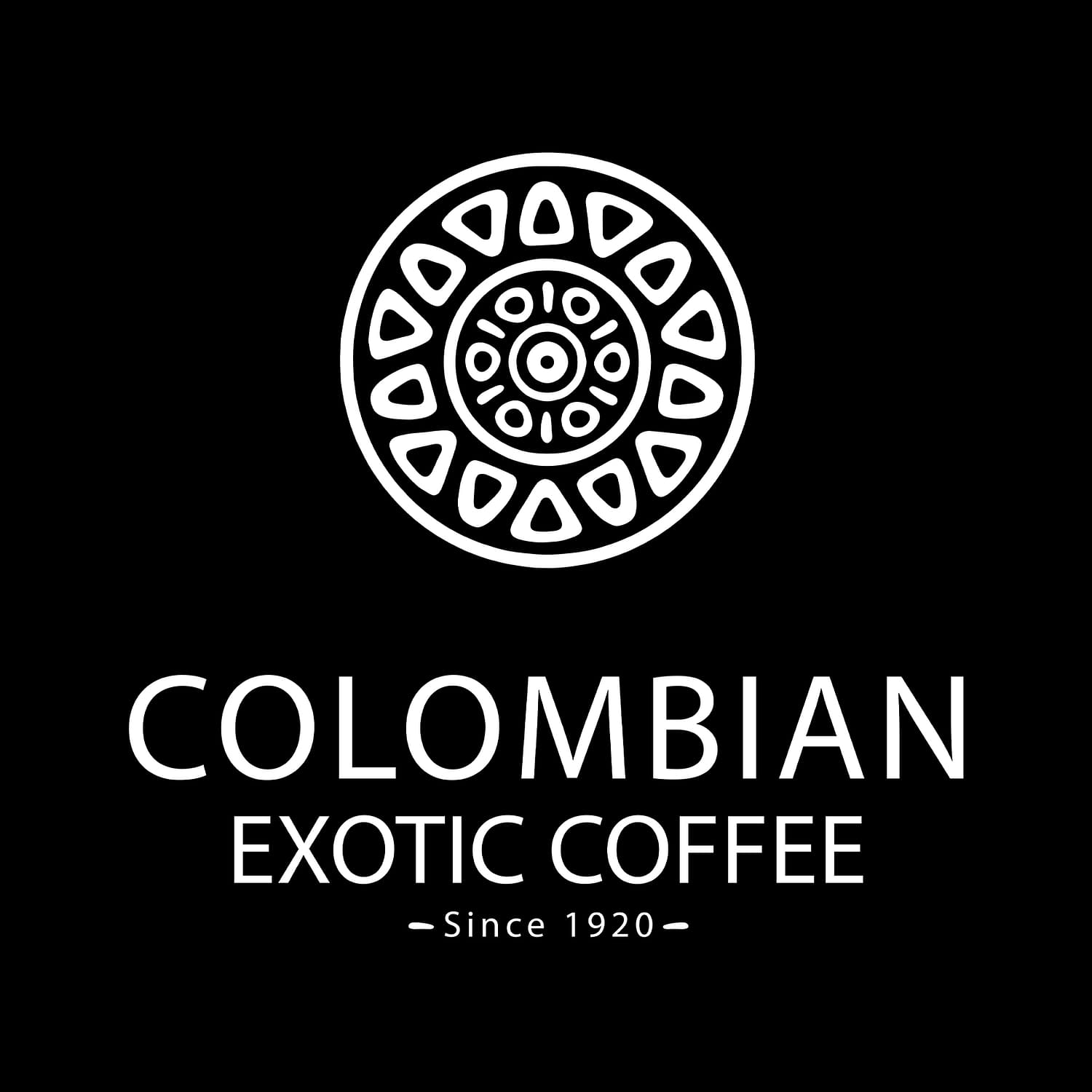 Colombian Exotic Coffee logo - white